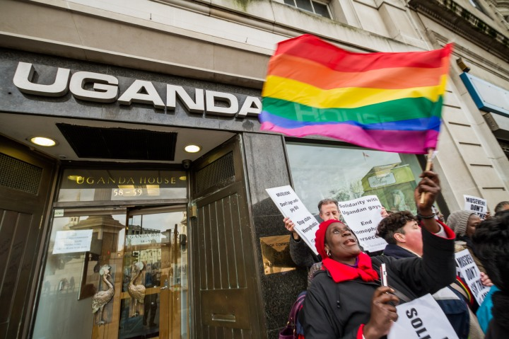 LGBT Protesters outside The Ugandan High Commission in London