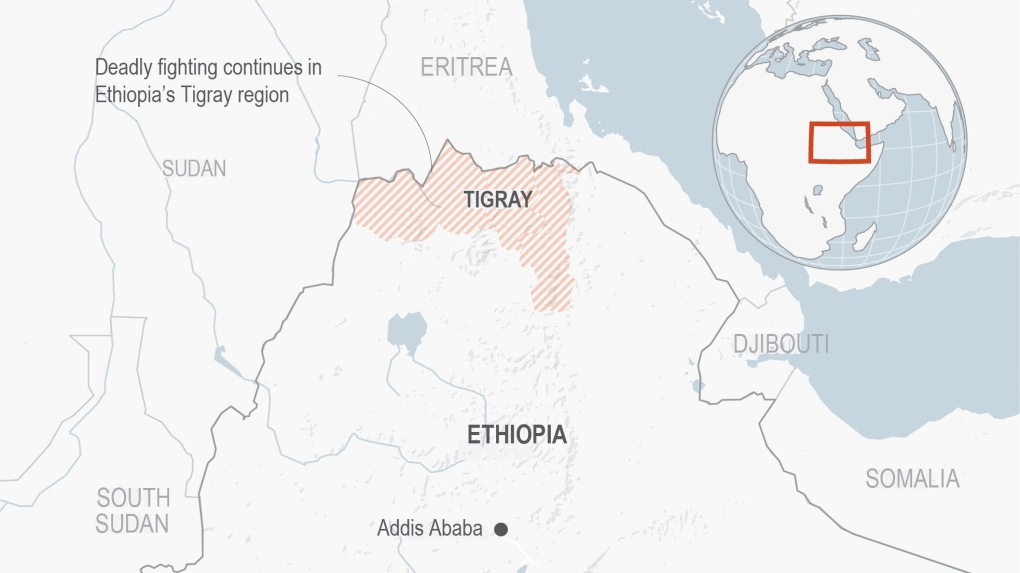 A imagem mostra a localização da região de Tigray no mapa mundi